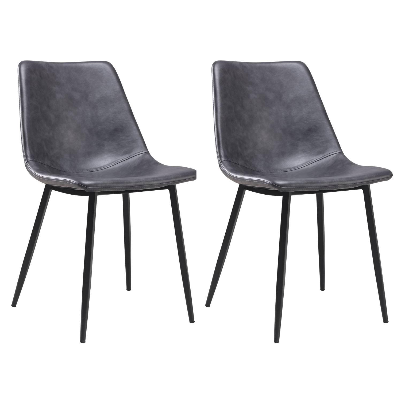 Lot de 2 chaises vintage ÉLIA gris foncé