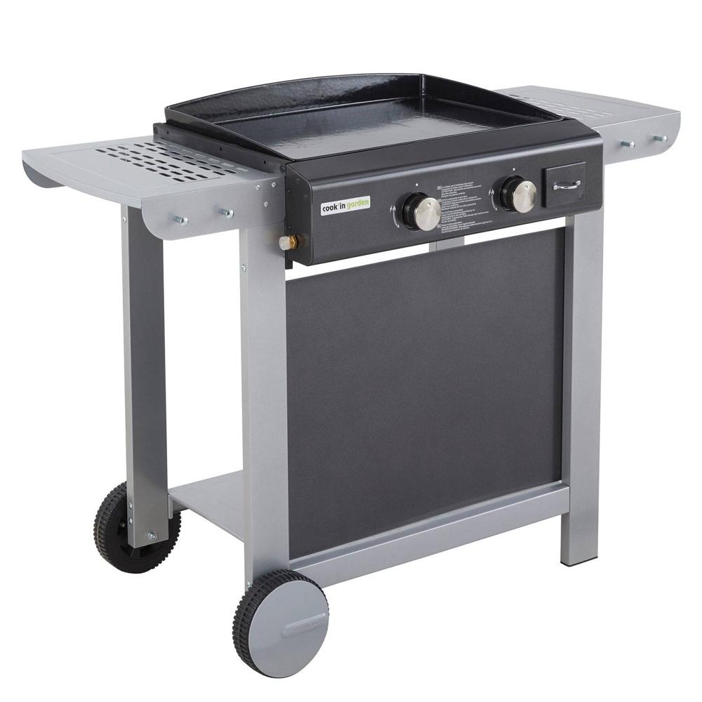 Cook'in Garden - Plancha au gaz sur chariot FINESTA 2 - 2 brûleurs 7kW