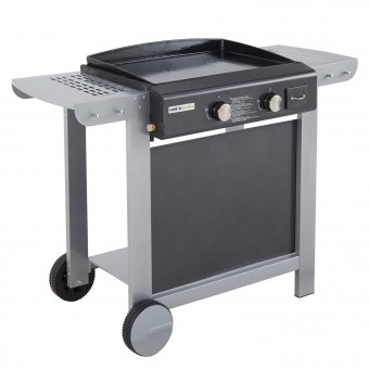 Cook'in Garden - Plancha gaz en fonte, sur chariot FINESTA 2 - 2 brûleurs 7kW