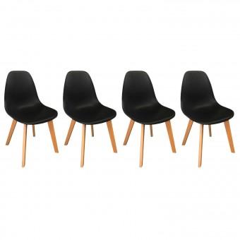 Lot de 4 chaises scandinaves LIV noires