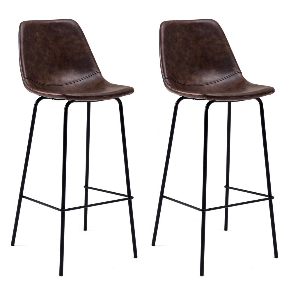 Lot de 2 tabourets de bar vintage LUCIEN marron - Hauteur d'assise 75cm