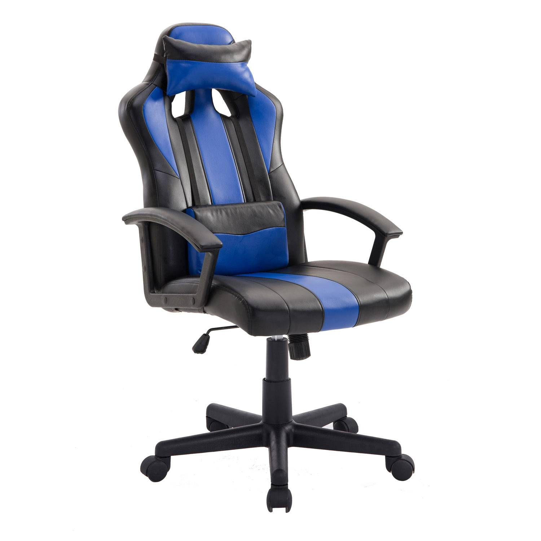 Fauteuil de bureau / gamer noir et bleu CRASH