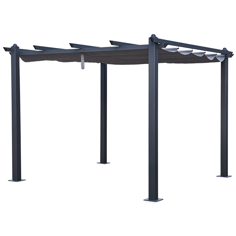 Pergola autoportante 3×3m CASSIS grise - structure aluminium