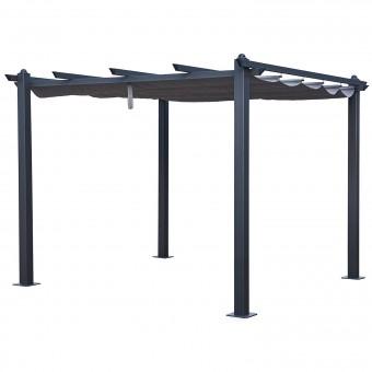 Pergola autoportante 3 × 3m CASSIS grise - structure aluminium