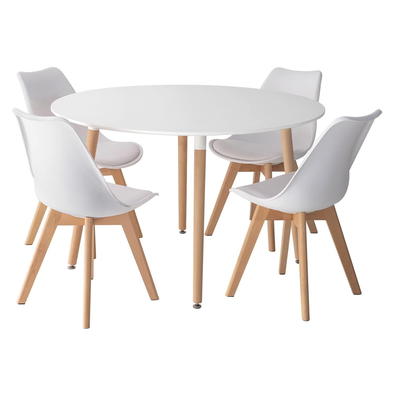 Ensemble table et chaises scandinave LIZ blanc