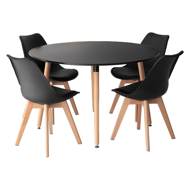 Ensemble table et chaises scandinave LIZ noir
