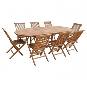 Salon de jardin en teck LOMBOK - table ovale extensible - 8 places
