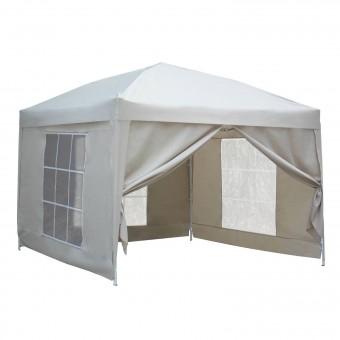 Tente de réception MISTRAL pliante 3 × 3m Beige avec panneaux