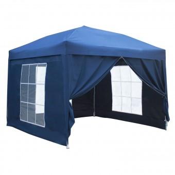 Tente de réception MISTRAL pliante 3 × 3m Bleu avec panneaux