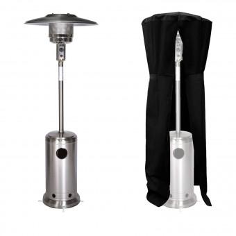 Parasol chauffant OSLO - chauffage d'extérieur gaz - acier inox + housse
