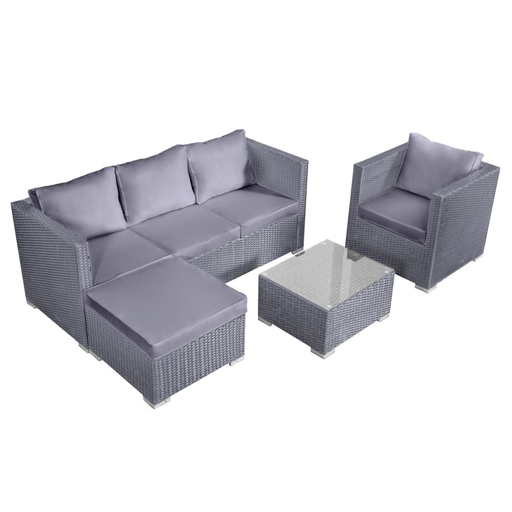 Salon de jardin CARGÈSE en résine tressée gris 4 places - coussins gris