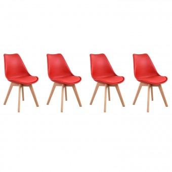 Lot de 4 chaises scandinaves NORA rouge avec coussin