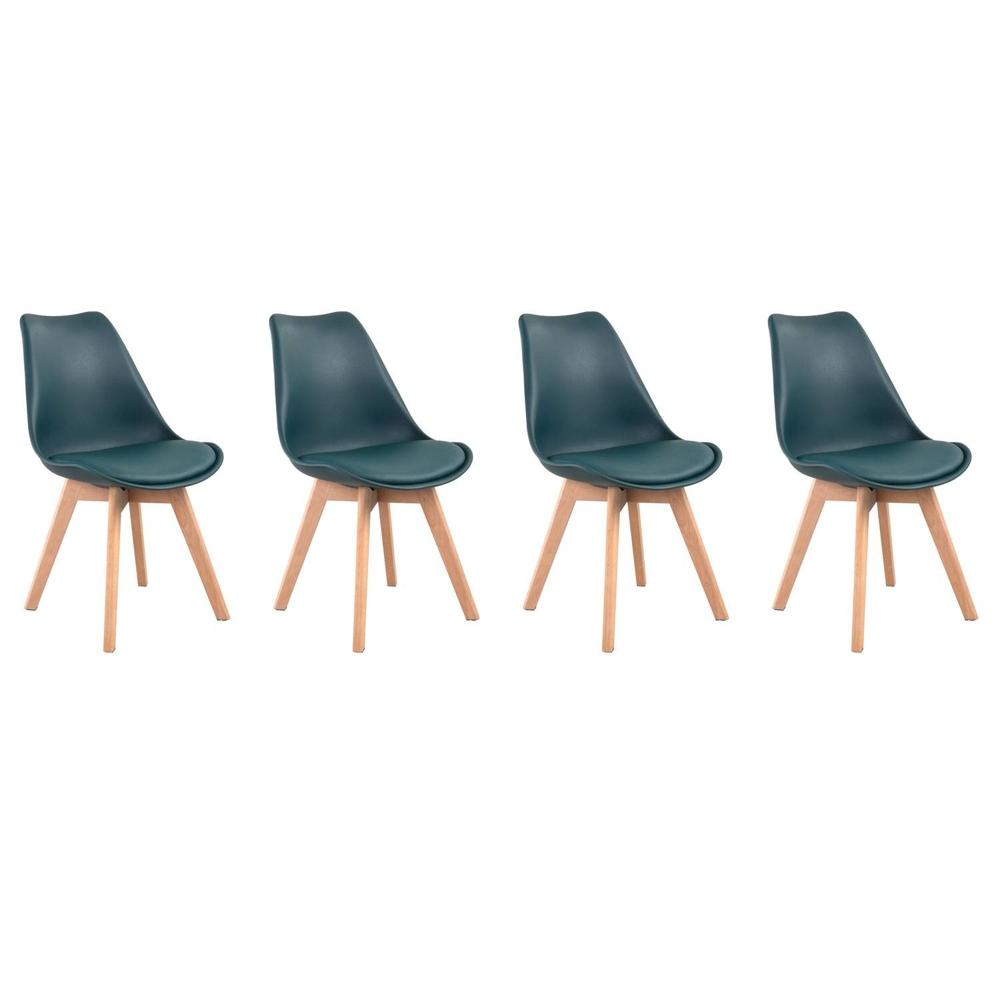 Lot de 4 chaises scandinaves NORA bleues avec coussin
