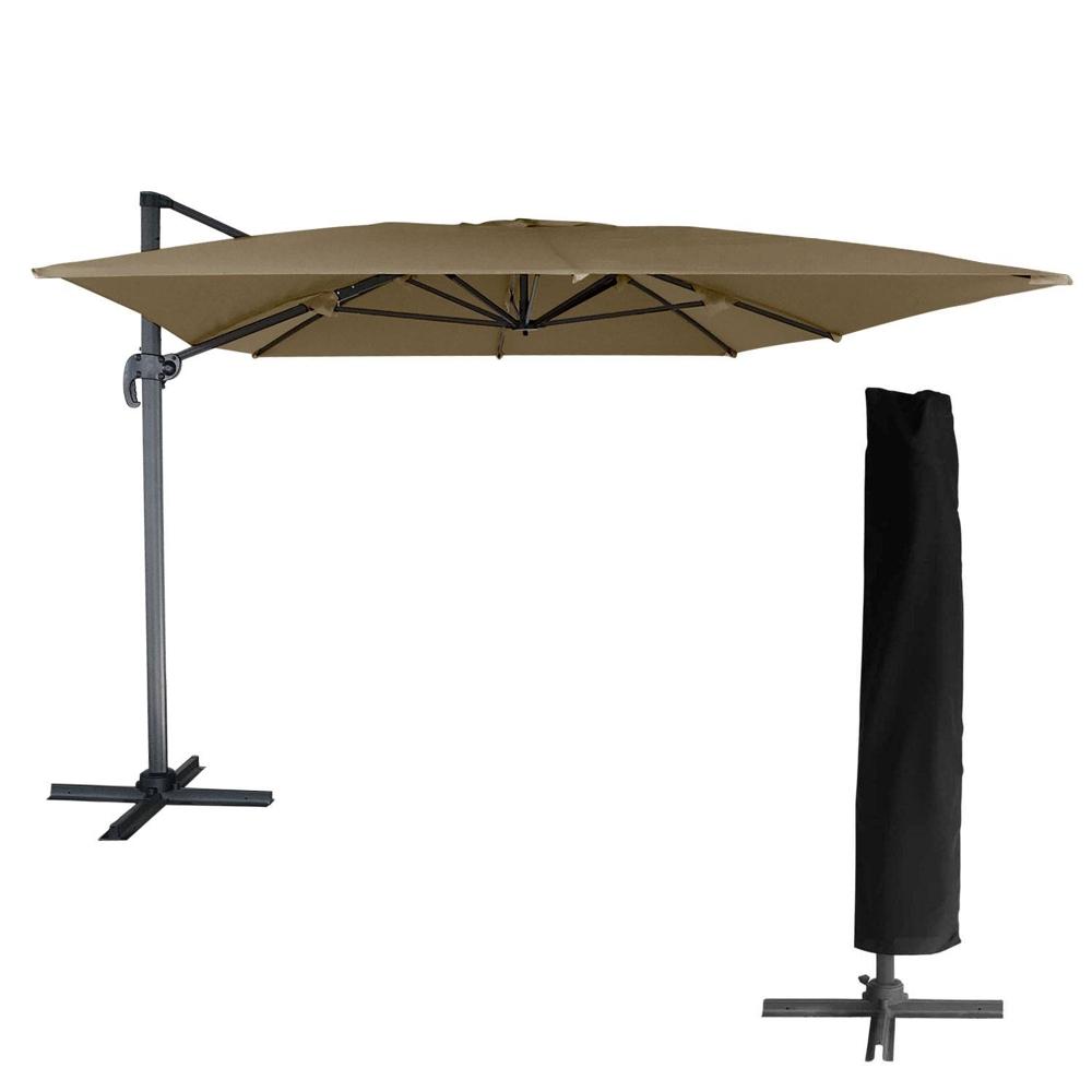 Parasol déporté MOLOKAI rectangulaire 3x4m taupe + housse