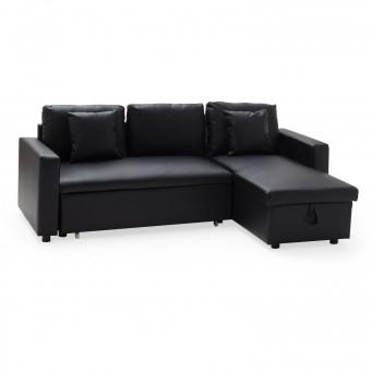 Canapé d'angle convertible simili cuir CLARK 3 places noir