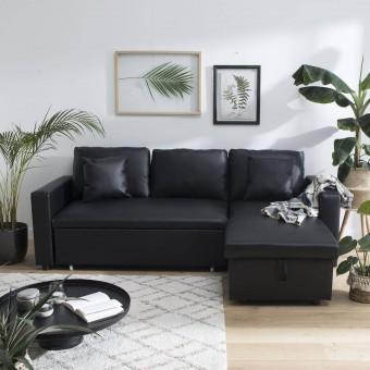 Canapé d'angle convertible simili CLARK 3 places noir