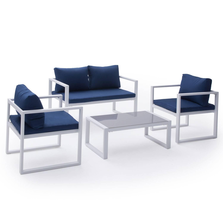 Salon de jardin IBIZA en tissu bleu 4 places - aluminum blanc