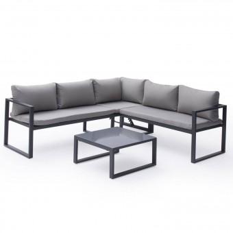 Salon de jardin modulable IBIZA en tissu gris 4 places - aluminium anthracite