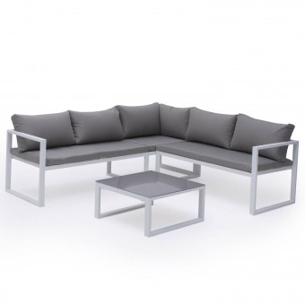 Salon de jardin modulable IBIZA en tissu gris 4 places - aluminium blanc