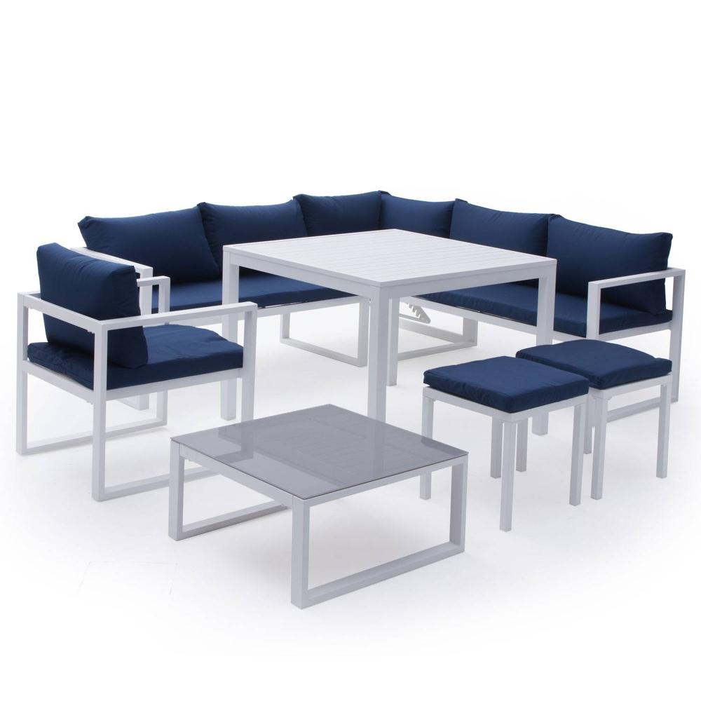 Salon de jardin modulable IBIZA en tissu bleu 7 places - aluminum blanc