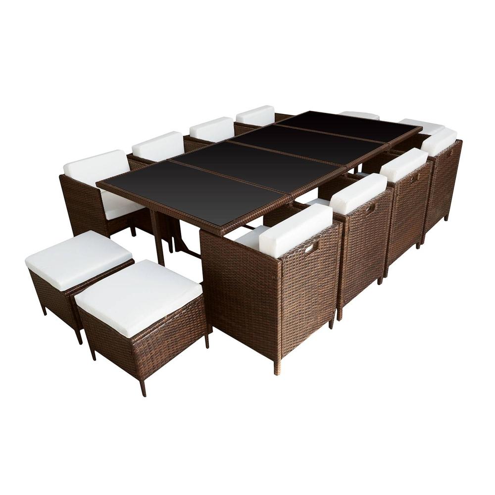 Salon de jardin encastrable SANTORIN en résine tressée marron 12 places - coussins crème