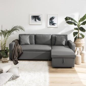 Canapé d'angle convertible simili CLARK 3 places gris