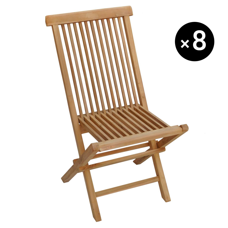 Lot de 7 chaises de jardin en teck LOMBOK