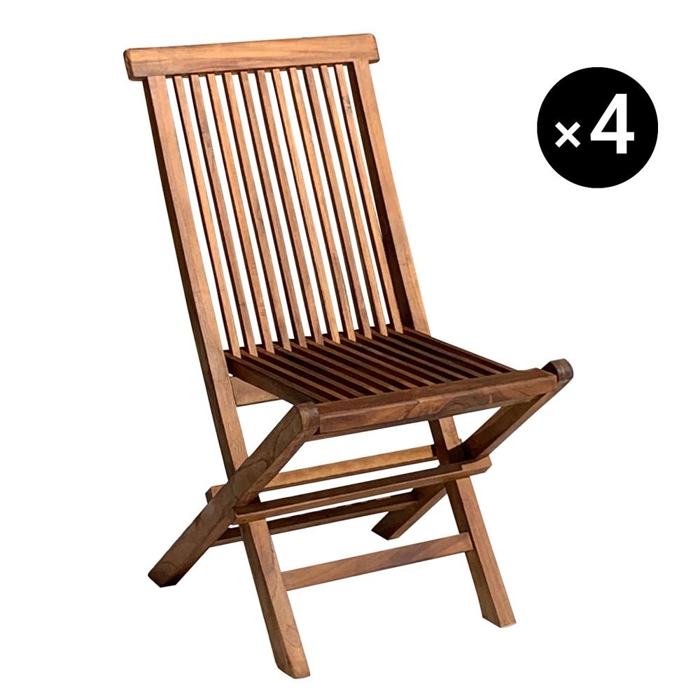 Lot de 4 chaises de jardin en teck huilé LOMBOK