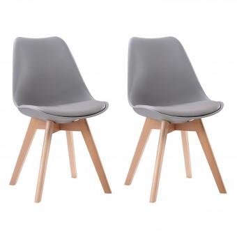 Lot de 2 chaises scandinaves NORA grises avec coussin
