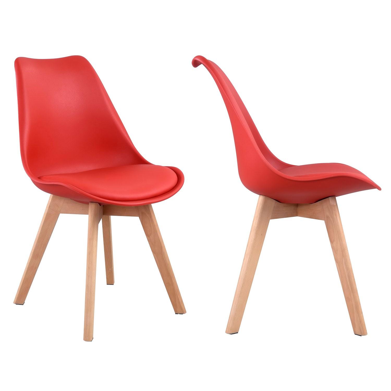 Lot de 2 chaises scandinaves NORA rouge avec coussin