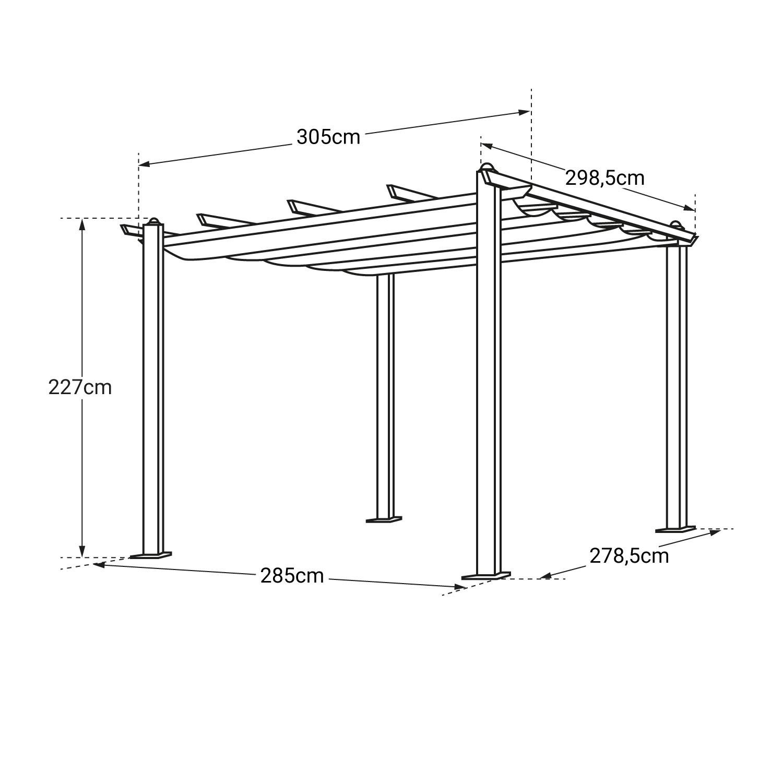 Pergola autoportante 3x3m CASSIS grise - structure aluminium