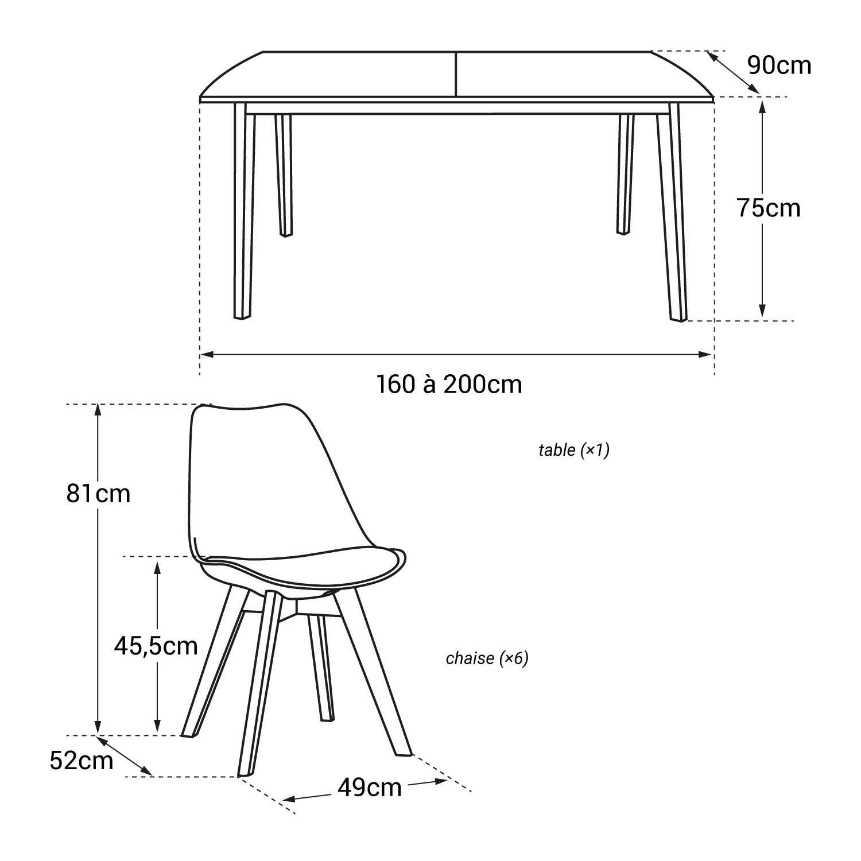 Ensemble table extensible et chaises scandinave blanc NORA