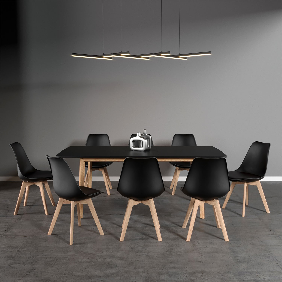 Ensemble table extensible et 7 chaises scandinaves noires Nora