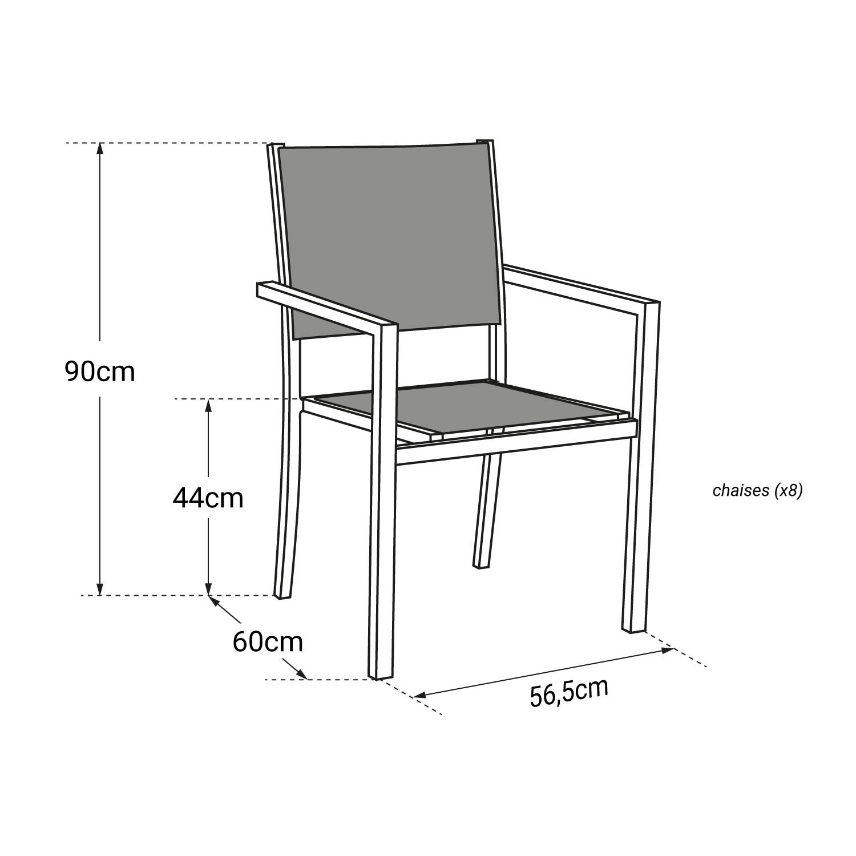 Lot de 8 chaises en textilène noir - aluminium gris