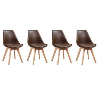 Lot de 4 chaises scandinaves NORA marron avec coussin