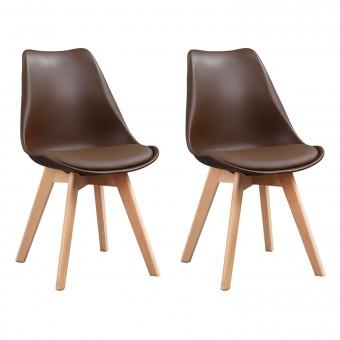 Lot de 2 chaises scandinaves NORA marron avec coussin
