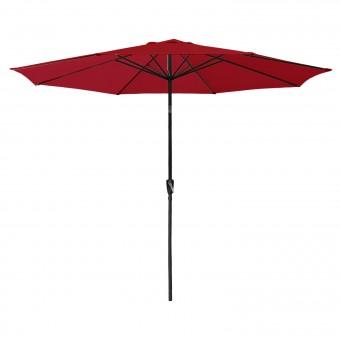 Parasol droit HAPUNA rond 3,30m de diamètre rouge