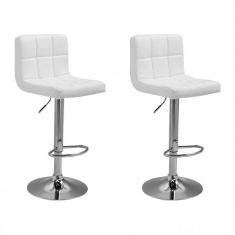 Lot de 2 tabourets de bar blanc MIKE