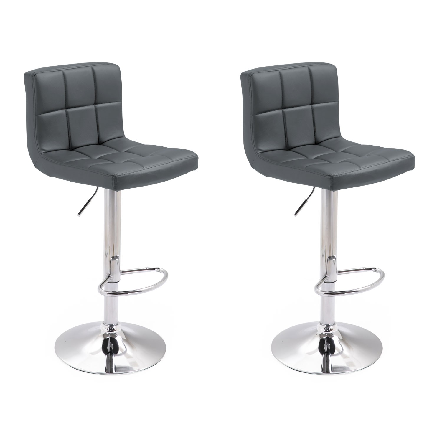 Lot de 2 tabourets de bar gris MIKE