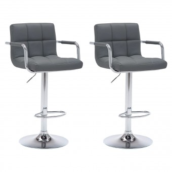 Lot de 2 tabourets de bar gris avec accoudoirs MIKE