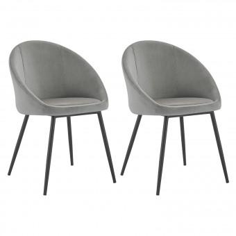 Lot de 2 chaises vintage DIANE velours gris