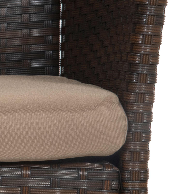 Salon de jardin CORDOUE en résine tressée marron 4 places - coussins taupe
