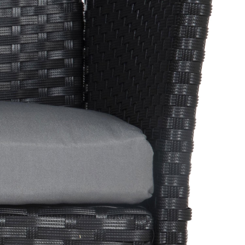 Salon de jardin CORDOUE en résine tressée noire 4 places - coussins gris