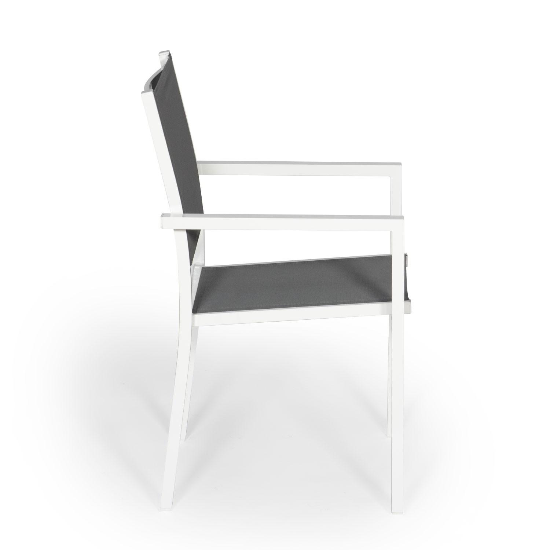 Lot de 4 chaises en aluminium blanc - textilène gris