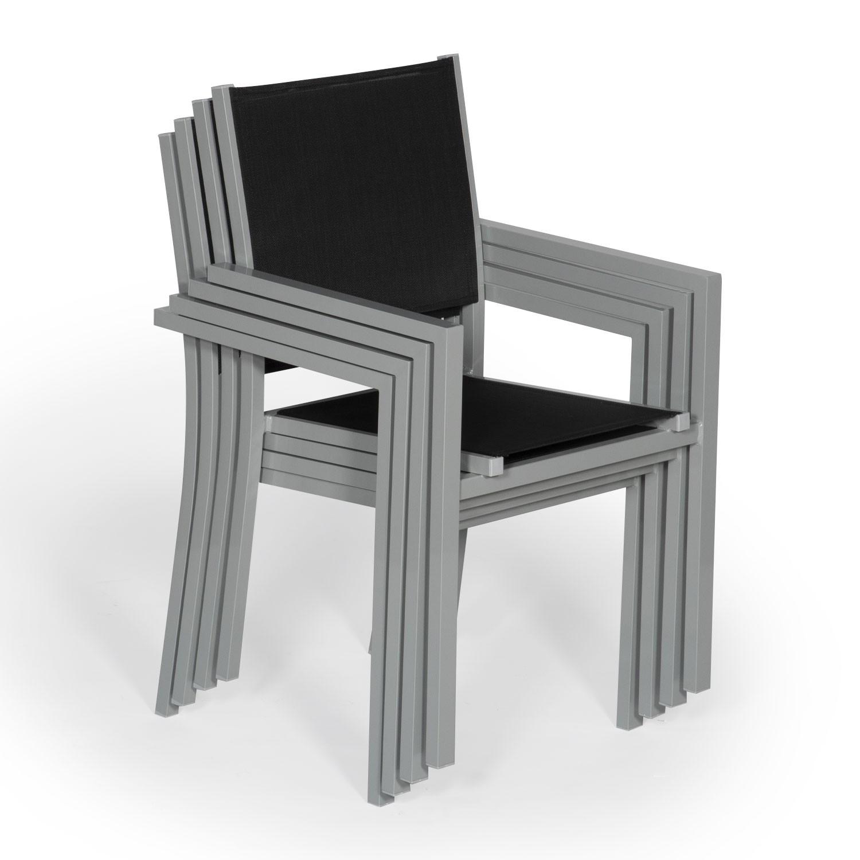 Lot de 4 chaises en aluminium gris - textilène noir