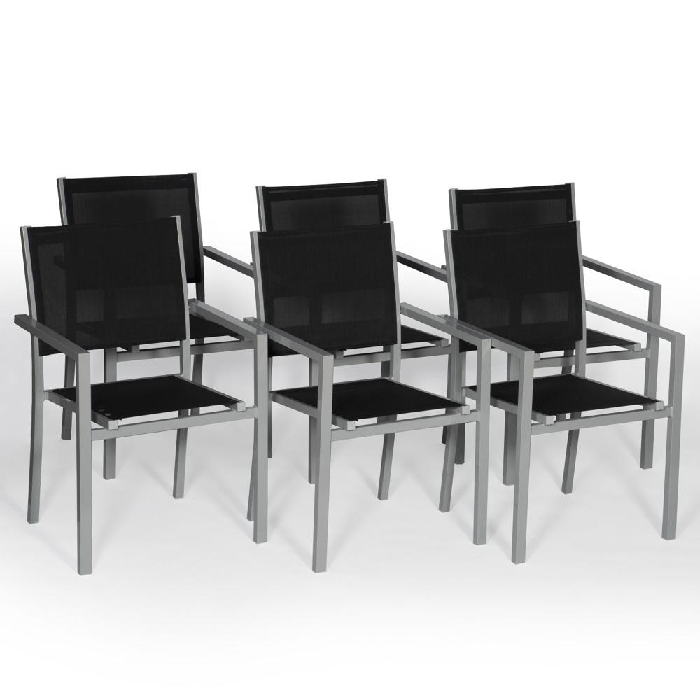 Lot de 6 chaises en aluminium gris - textilène noir