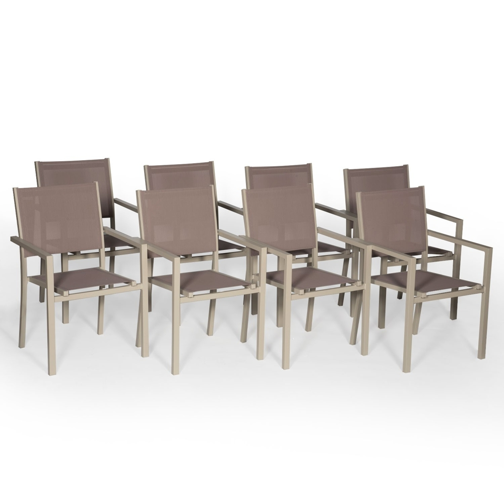 Lot de 8 chaises en aluminium taupe - textilène taupe
