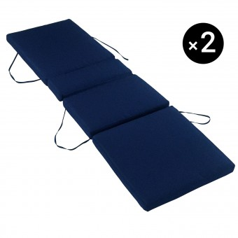 Lot de 2 coussins de bain de soleil - bleu 200 × 60cm