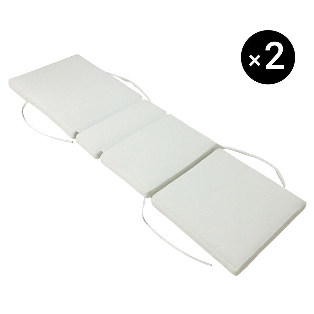 Lot de 2 coussins de bain de soleil beiges 200 × 60cm