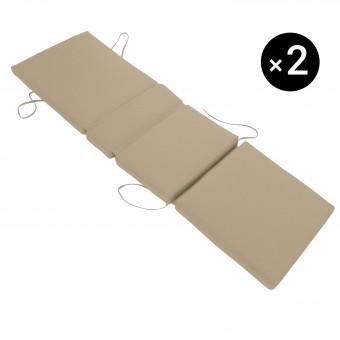 Lot de 2 coussins de bain de soleil - taupe 200 × 60cm